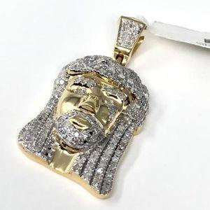 Accessories - 10K Yellow Gold Icy CZ Jesus Pendant